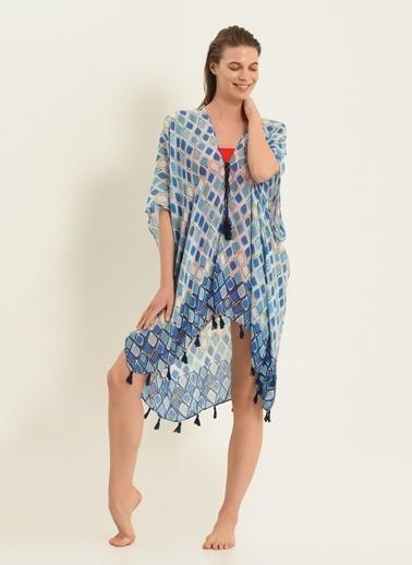 Morhipo Beach Kadın Etnik Desenli Kimono MBKSS21KI0004 Mavi